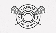 Lacrosse Logo Vintage Template With Crosse Sticks, Ball And Thunderbolts. Lacrosse Stick And Ball Isolated On White Background.