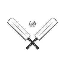 Cricket Bat And Ball Icons Isolated On White Background. Crossed Cricket Bats. Vintage Design Elements For Logo, Badges, Banners, Labels. Vector Illustration
