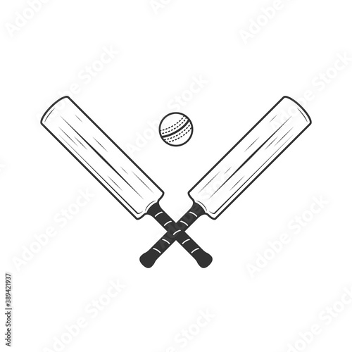 Foto Cricket bat and ball icons isolated on white background
