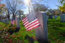 Arlington National Cemetery - Headstones And U.S. National Flags - Circa Washington D.C. United States Of America