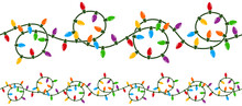 Vector Illustration Of A String Of Curly, Looping Colorful Christmas Lights. String Can Be Joined Seamlessly End To End To Make A Longer, Endless String.