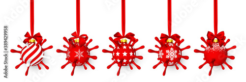 Obraz Red shiny glowing Christmas ball like as virus unit with red bow. Xmas glass ball. Holiday decoration template. Vector illustration - fototapety do salonu