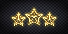 Vector Realistic Isolated Neon Sign Of Three Stars Logo For Decoration And Covering. Concept Of Luxury, Premium And VIP.