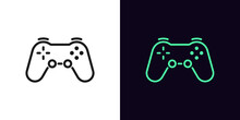 Outline Game Controller Icon. Linear Joystick Sign, Wireless Gamepad For Game Console With Editable Stroke
