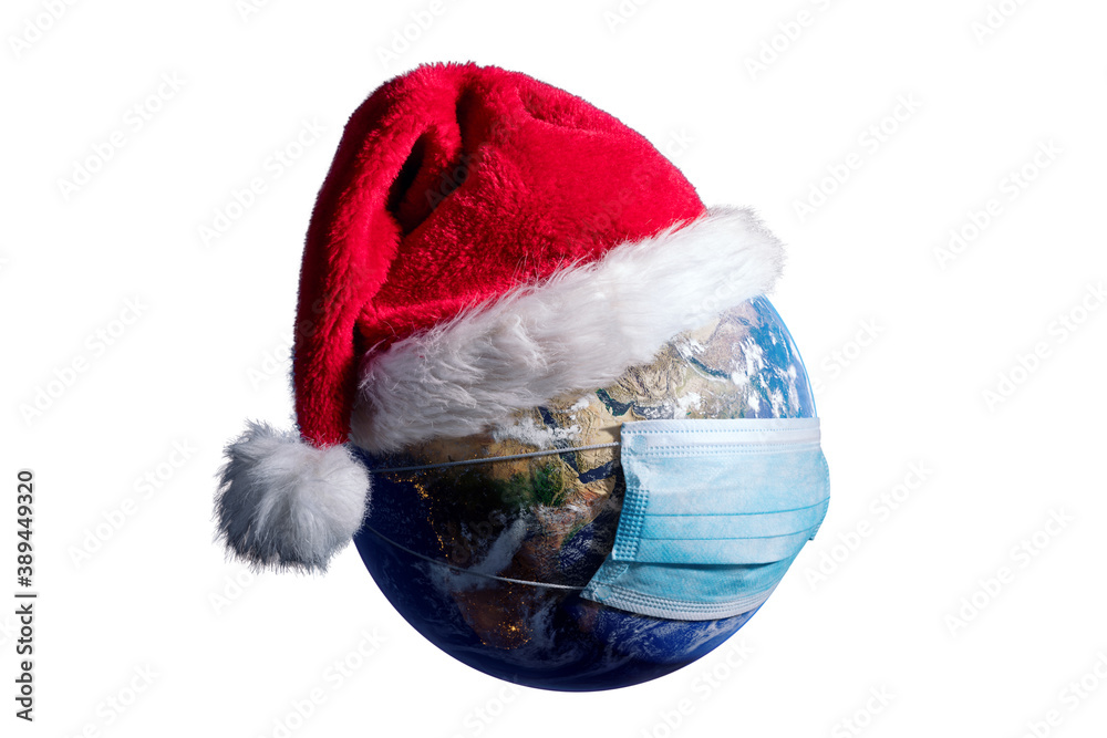 Fototapeta Earth With Surgical Mask and Santa Hat - Virus Infection Covid 19 - World with Coronavirus - Christmas Concept 3D Illustration