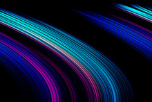 Abstract Bright Purple And Blue Oblique Lines Illustration On Black Background. Blur The Decorative Purple-black Texture. Modern Pattern With Moving Background Style And Oblique Geometric Wallpaper