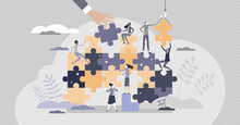 Teamwork Jigsaw Puzzle As Partnership Work Assistance Tiny Persons Concept