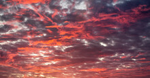 Black And Red Sky, Beautiful Sunset At Dusk