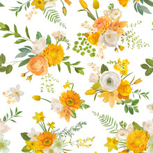 Spring Flowers Watercolor Background, Seamless Floral Summer Pattern. Vector Trendy Blossom Texture