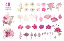 Floral Tropical Boho Collection. Watercolor Tropic Flowers And Leaves. Vector Design Isolated Elements Of Palms