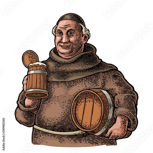 Photo Monk holding wood beer mug and barrel