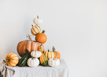 Colorful Pumpkins Of Different Shapes And Size In Pyramid Composition On Light Tablecloth, White Wall At Background, Copy Space. Pumpkins For Halloween Or Thanksgiving Day Autumn Holiday Decoration