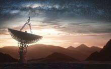 Huge Satellite Antenna Dish For Communication And Signal Reception Out Of The Planet Earth. Observatory Searching For Radio Signal In Space At Sunset.