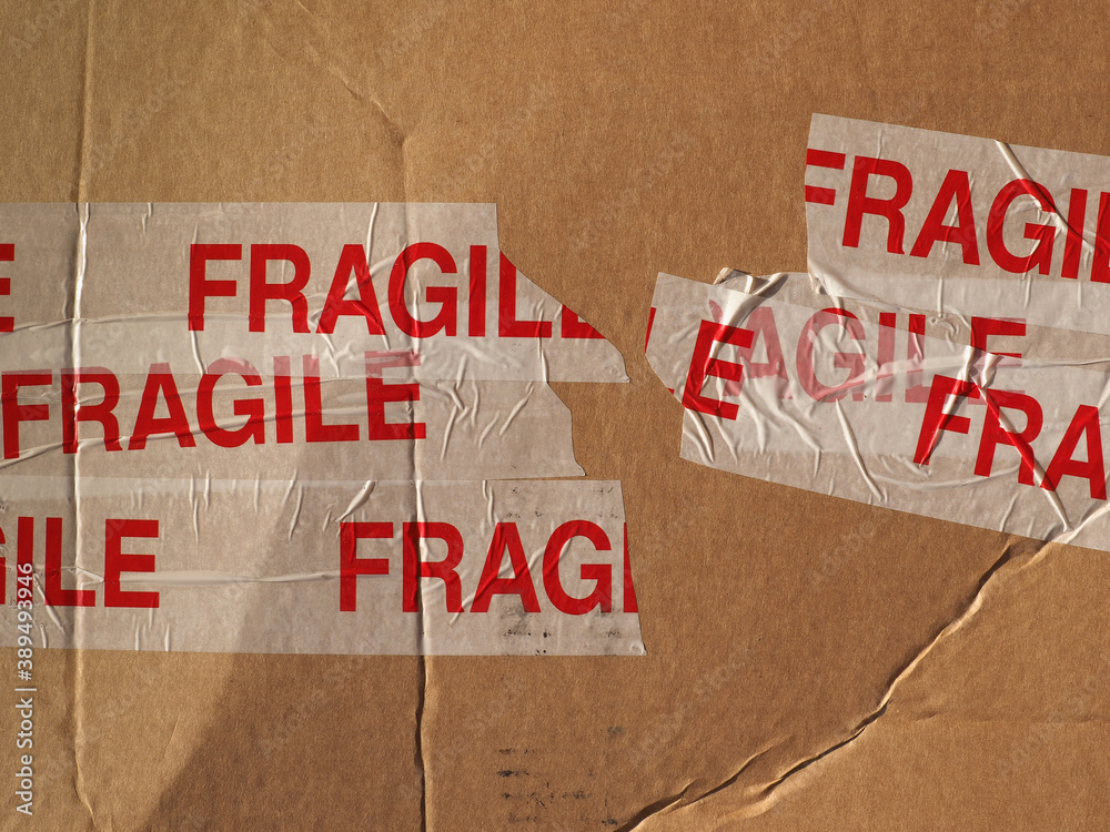 Fototapeta fragile on cardboard packet