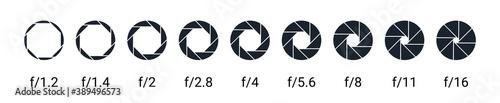 Obraz Shutter camera aperture lens icon. Vector shutter aperture logo photography circle open diaphragm - fototapety do salonu