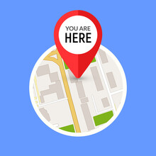 You Are Here Street Map Gps Simple Icon. Road Gps Map Here Sign Pin Design