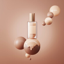 3D Beige Display With Liquid Foundation Splash Dripping On Studio Brown Background. Nude Makeup Cream Fluid Flow Down. Beauty Product, Cosmetics Promotion Podium Ball. Abstract 3D Render Mockup.