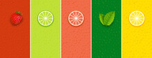 Fruit Mint Lime Lemon Or Grape Juice Sticker Flavor Icon. Fruit Logo Label Vitamin Droplet