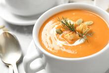 Tasty Creamy Pumpkin Soup With...