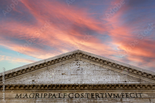 Pink skies over Pantheon roman temple and catholic church in rome Italy Fotobehang