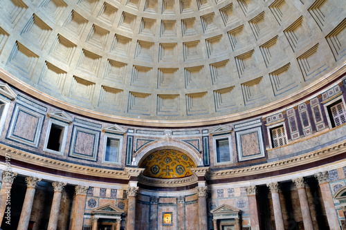 Valokuvatapetti Ceiling and the dome inside the Pantheon roman temple and catholic church in rome Italy