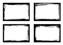 Grunge Frames Isolated Vector Black Borders Of Rectangular Shape With Scratched Rough Edges On White Background. Grungy Old Texture, Dirty Spatter Vignettes, Retro Design Elements Or Photo Frames Set