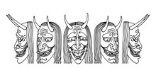 Japanese Theatrical Mask Of An Angry Jealous Woman, Demon, Monster, Vector Illustration With Black Ink Contour Lines Isolated On A White Background In The Style Of Doodle & Hand Drawn
