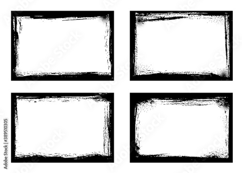 Grunge frames isolated vector black borders of rectangular shape with scratched rough edges on white background Wallpaper Mural