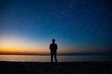 星空と海辺