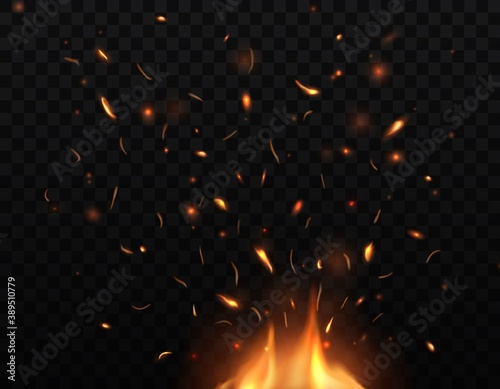 Valokuvatapetti Fire, burning bonfire with sparks and embers flying up, vector glowing flame with particles