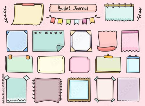 Vászonkép Set of bullet journal notes paper planning design