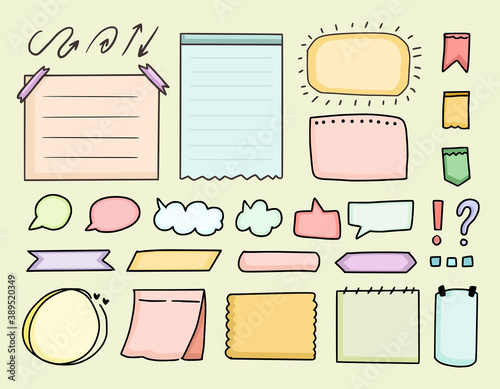 Photo Cute bullet journal element icon notes vector drawing