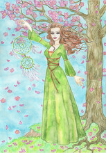 Nature Background With Tree, Copy Space And Beautiful Girl Or Woman Holding Dreamcatcher As Spring Against Blooming Flowers.