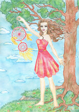 Nature Background With Tree, Copy Space And Beautiful Girl Or Woman Holding Dreamcatcher As Summer Against Clouds.