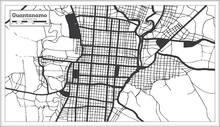 Guantanamo Cuba City Map In Bl...