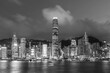 Night scenery of Victoria harbor of Hong Kong city