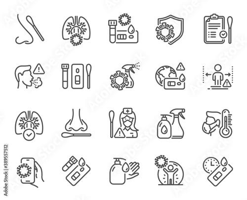 Fototapeta Covid Test line icons. Nasal swab, Blood testing, Waiting time. Social Distance, Hand Sanitizer, Rapid Antigen Test icons. Coronavirus protection, Pneumonia virus. Nose with cotton swab. Vector obraz