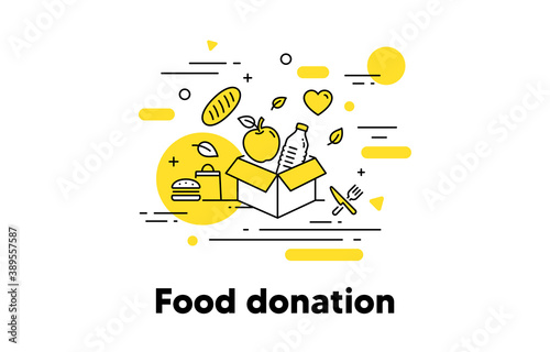 Leinwand Poster Food donation line icon