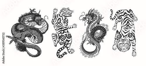 Stampa su Tela Japanese dragon