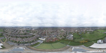 An Aerial 360 Degree Full Sphere Panoramic Photo Of An Old School Building Across The Town Of Dagenham In The UK