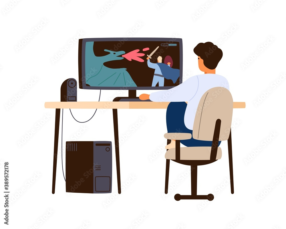 Fototapeta Boy playing computer game at home. Child player sitting at desk and enjoy gaming online. Teenager hobby and leisure activity. Flat vector cartoon isolated illustration