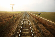 Railway Tracks In The Morning
