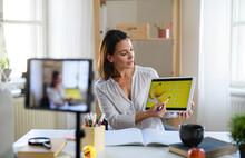 Woman Teacher Teaching Online, Coronavirus And Online Distance Learning Concept.