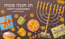 Hanukkah Brown Template With Torah, Menorah And Dreidels. Greeting Card. Translation Happy Hanukkah
