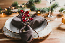 Festive Table Setting With Win...