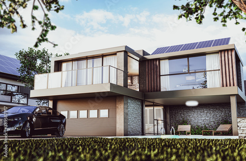Exclusive small villa exterior during sunny day with garage, pool and photovoltaics