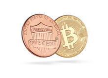 Golden Bitcoin With One Cent C...