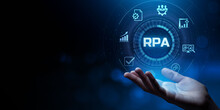 RPA Robotic Process Automation Innovation Business Technology Concept.