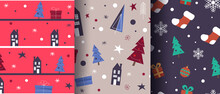 Simple Christmas Seamkess Bright Pattern. Background Can Be Used For Wallpapers, Pattern Fills, Web Page Backgrounds,surface Textures.