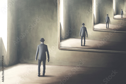 Obraz illustration of man reflecting himself in the mirror, loop surreal concept - fototapety do salonu